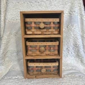 Other - Small wooden 3 tier shelf with baskets